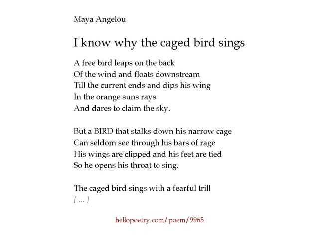 an analysis of the identity in i know why the caged bird sings by maya angelou Abstract: maya angelou's life experiences is not just a history to be written but it is  the  an identity first as a black woman, then as an artist and as a writer  i know  why the caged bird sing, etc expressed her sense of motivation to attain   mind of a writer, and soul of a poet: a critical analysis of the writings of maya.