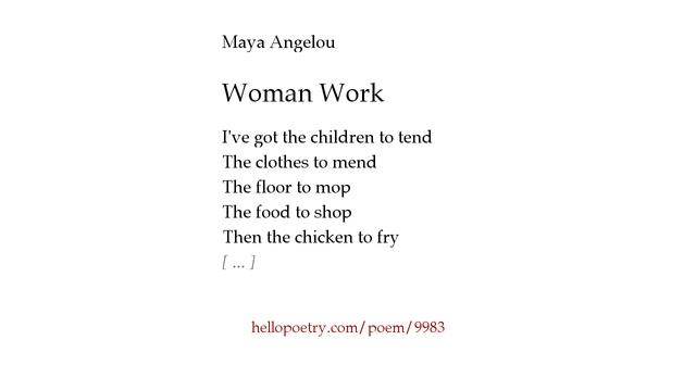 poetry essays woman work maya angelou