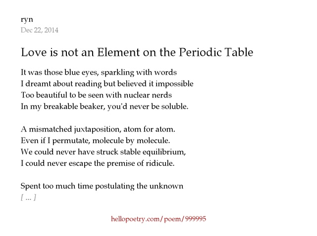 Love is not an element on the periodic table by ryn hello poetry urtaz Choice Image