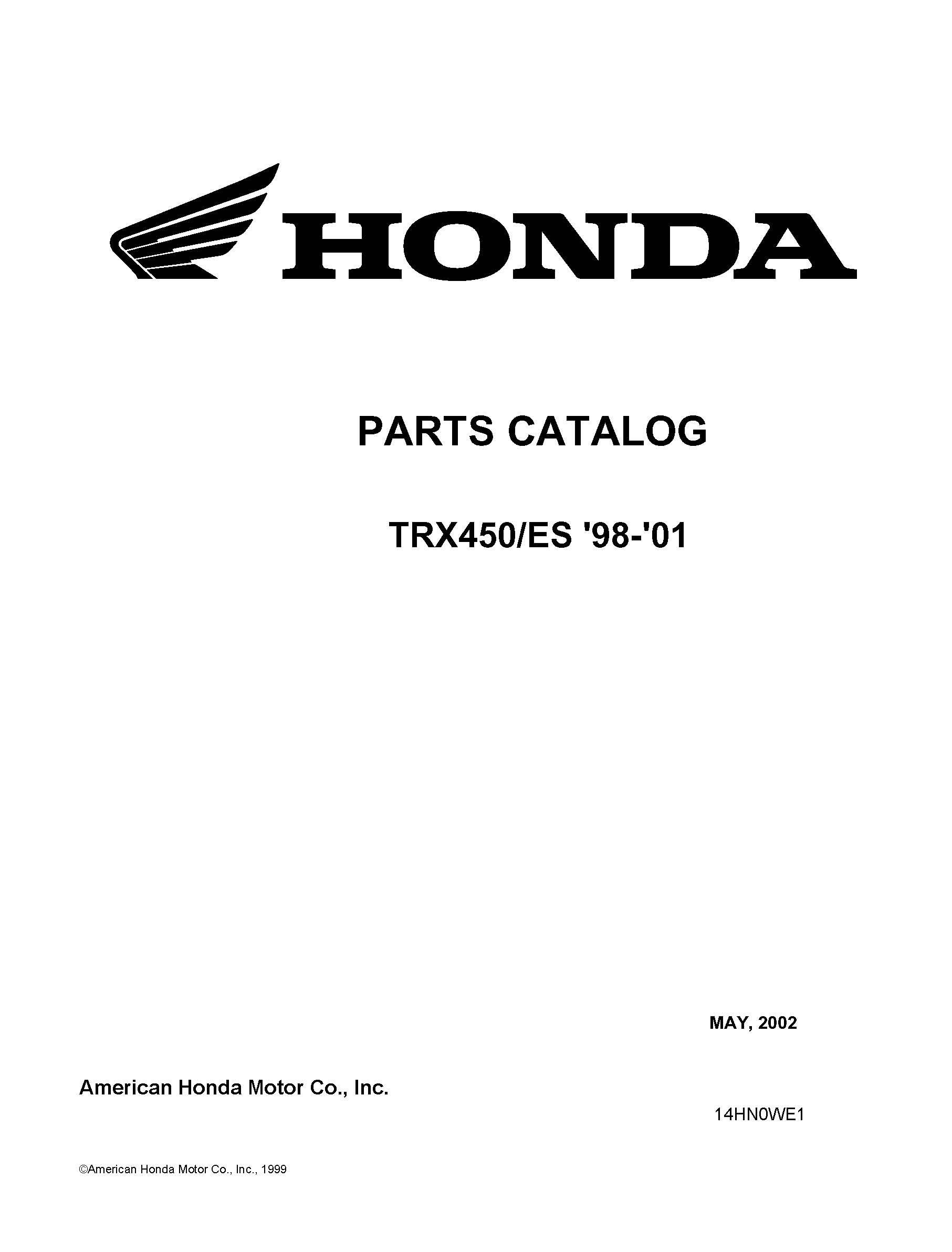 Honda 1998 Es Parts Catalog Service Shop