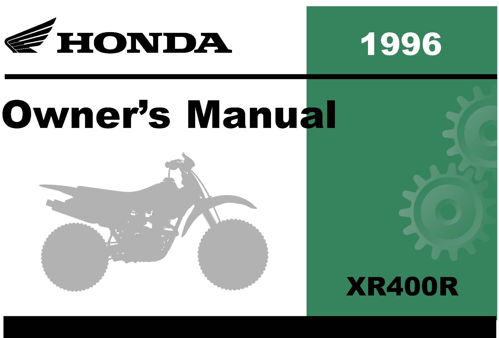 Honda 1996 XR400R Owner Manual 96