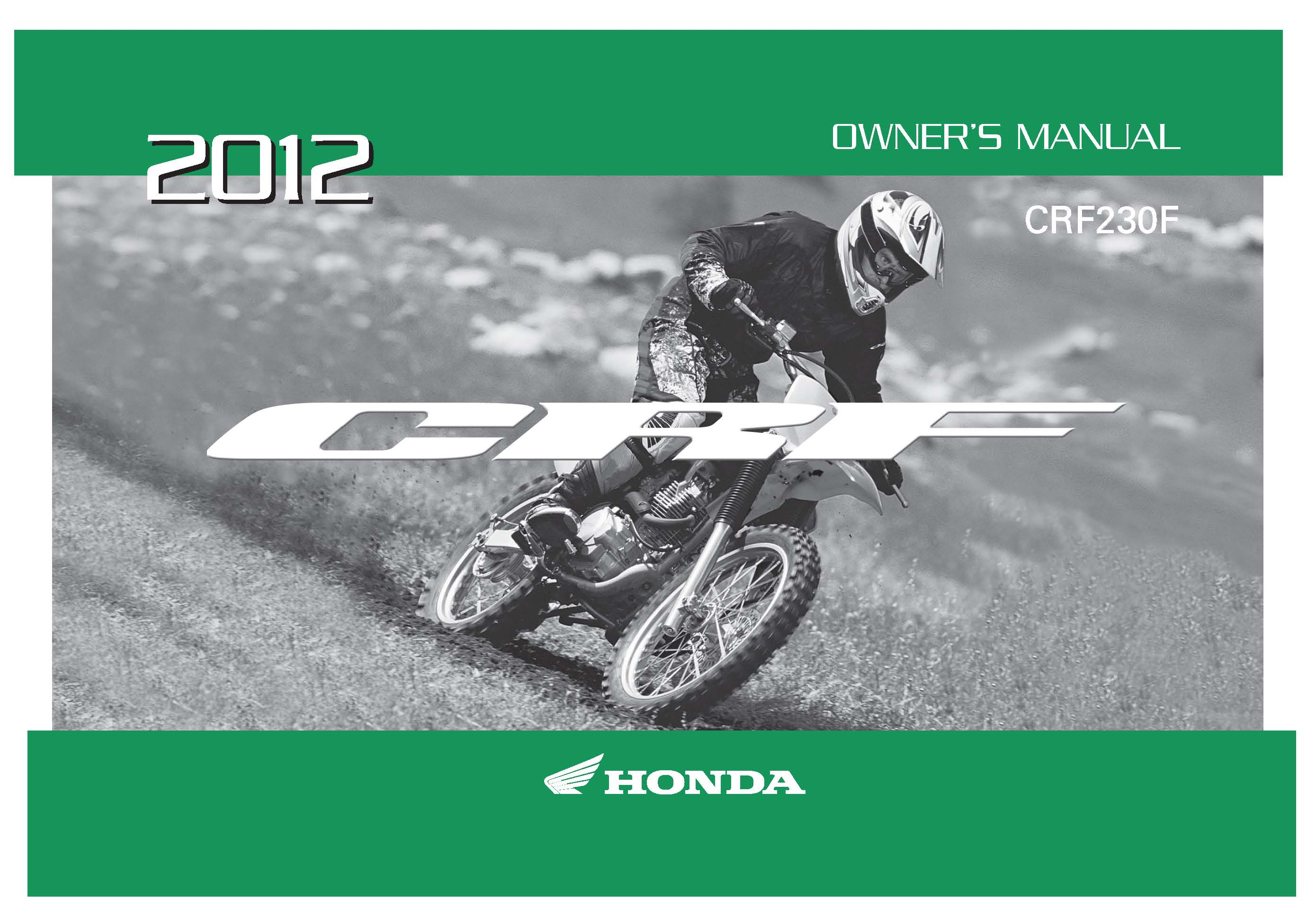 Honda 2012 CRF230F (A/CE) Owner Manual 12