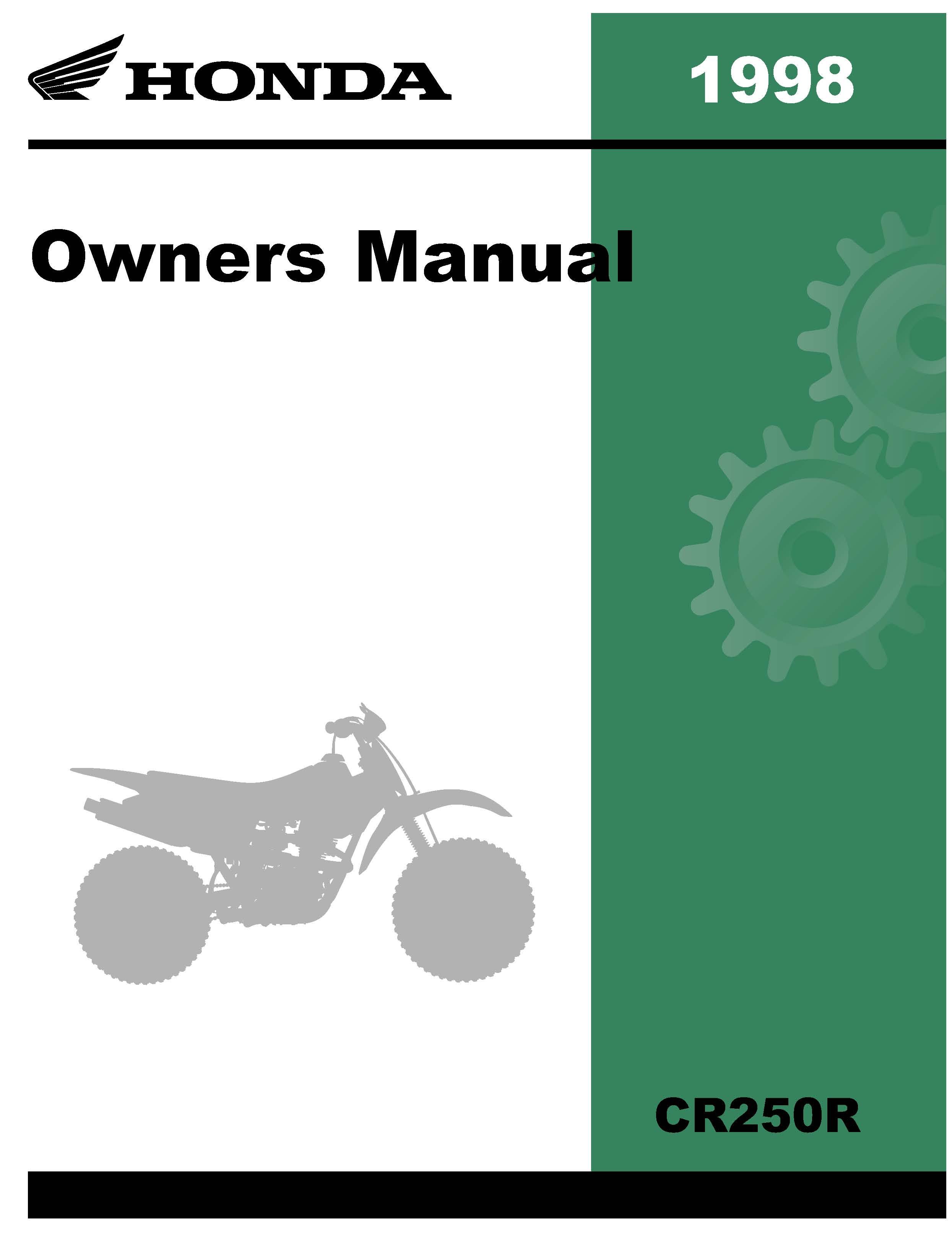 Honda 1998 CR250R Owner Manual 98