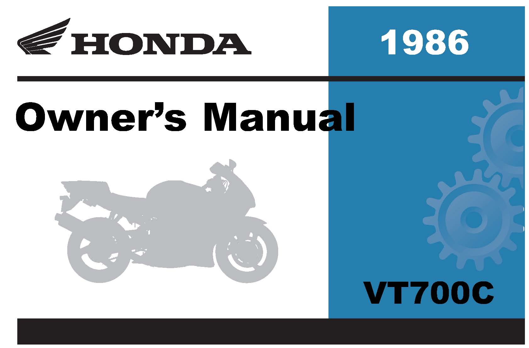 Honda 1986 VT700C Shadow Owner Manual 86