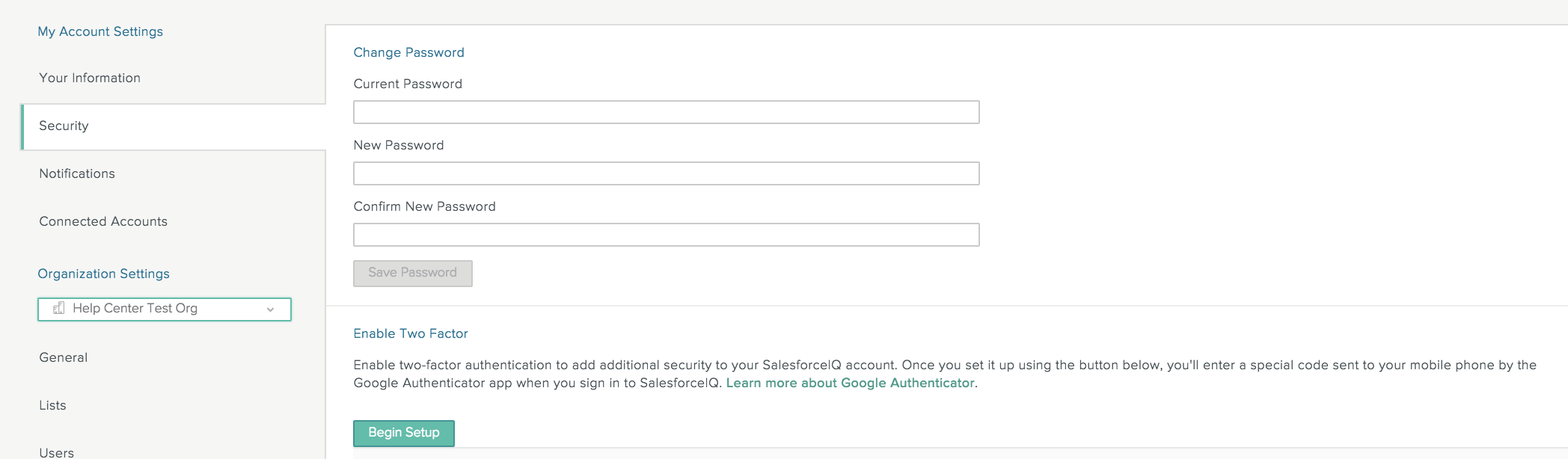 Connected Accounts And Settings Salesforceiq Help