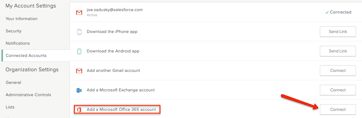 Connect Your Accounts - SalesforceIQ Help