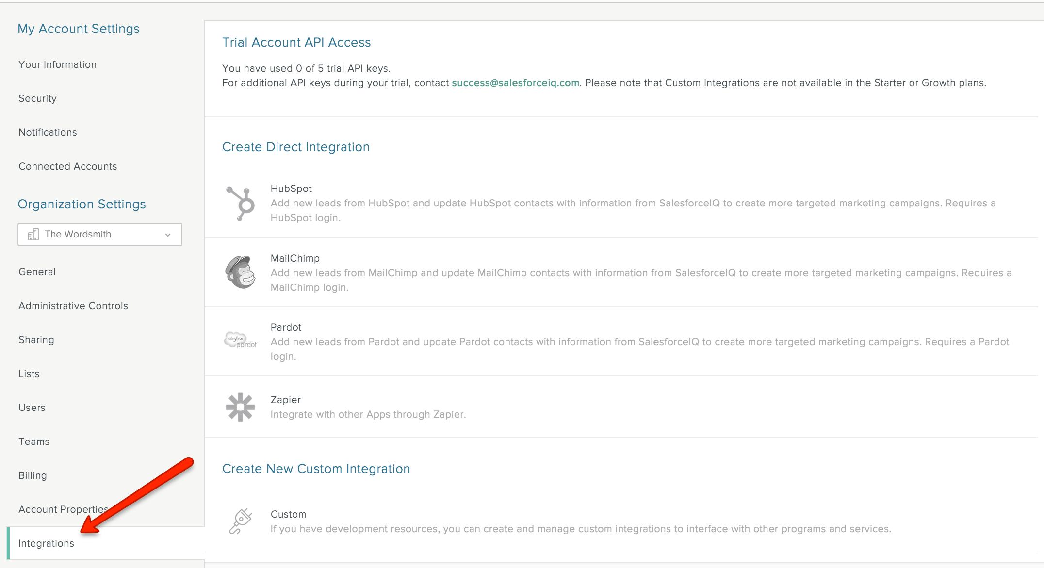Integrations - SalesforceIQ Help