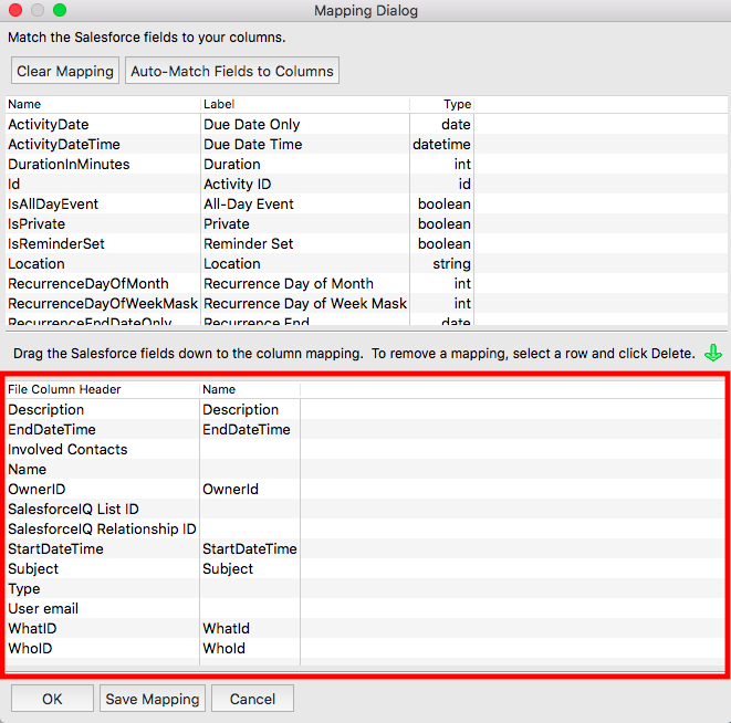 Import meetings into Salesforce using Data Loader