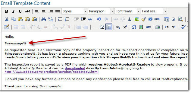 Add a Personal Message when Sending Your Report | Inspection Support ...