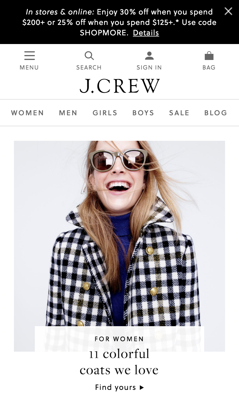 J.Crew Mobile Website