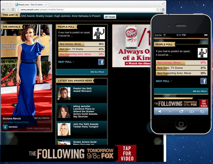 People Magazine - Mobile Website - SAG Awards 2011