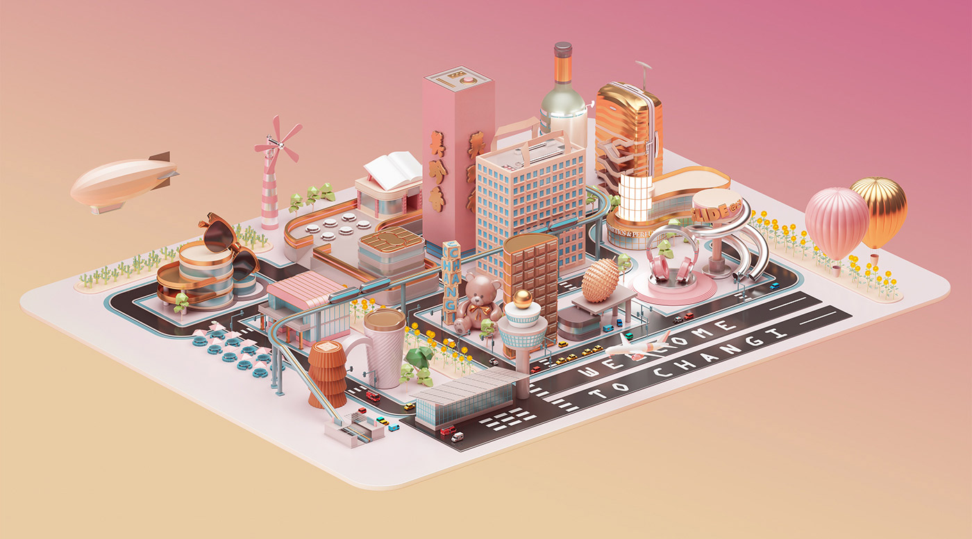 Mastercard City - 3D Design Inspiration by Peter Tarka and Mateusz Krol