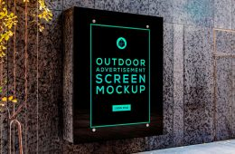 Free Outdoor Advertising Screen Mockup