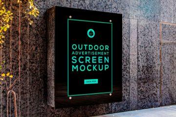 Free Outdoor Advertising Screen Mockup