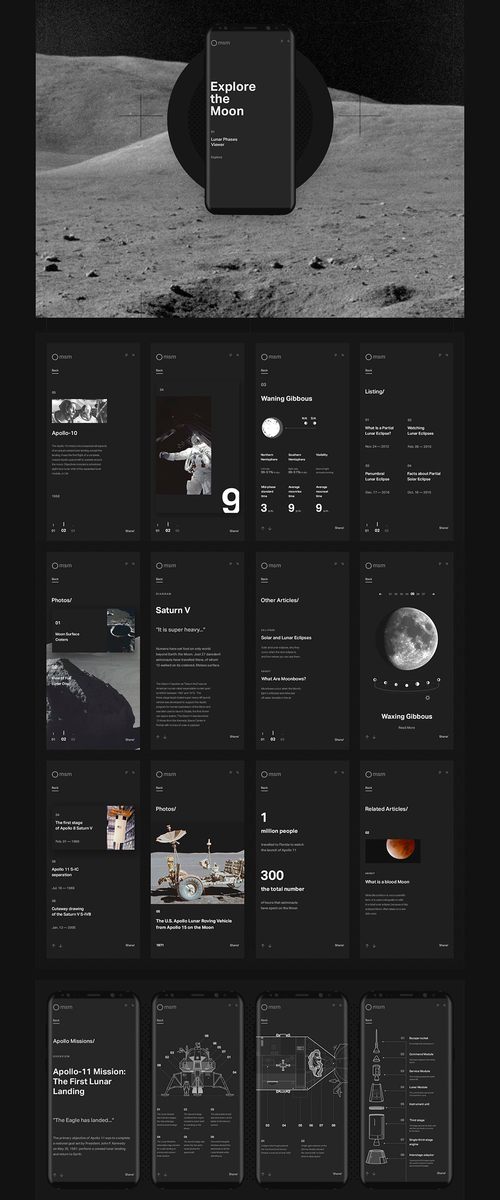 Explore the Moon Project Web Design and Cinema 4D
