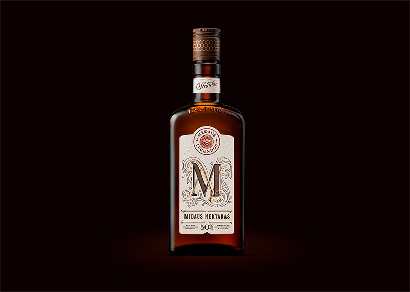 Beautiful Label & Packaging for Midaus Nektaras Liqueur