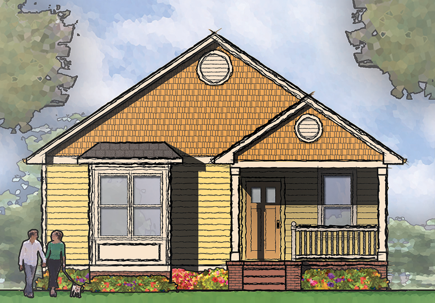 Narrow lot bungalow house plan 10035tt architectural for Narrow bungalow house plans