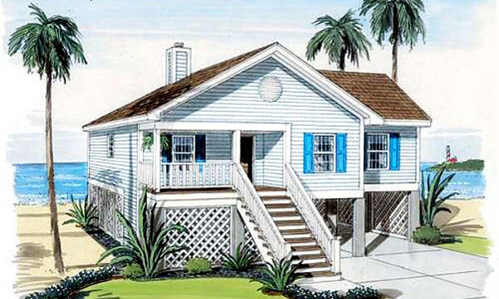 Elevated waterfront home plan 11175g architectural for Waterfront home plans and designs