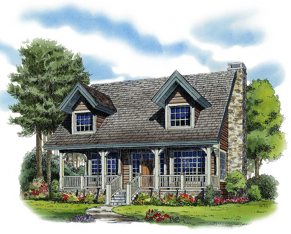 Two bedroom rustic retreat 11526kn architectural for Retreat house plans