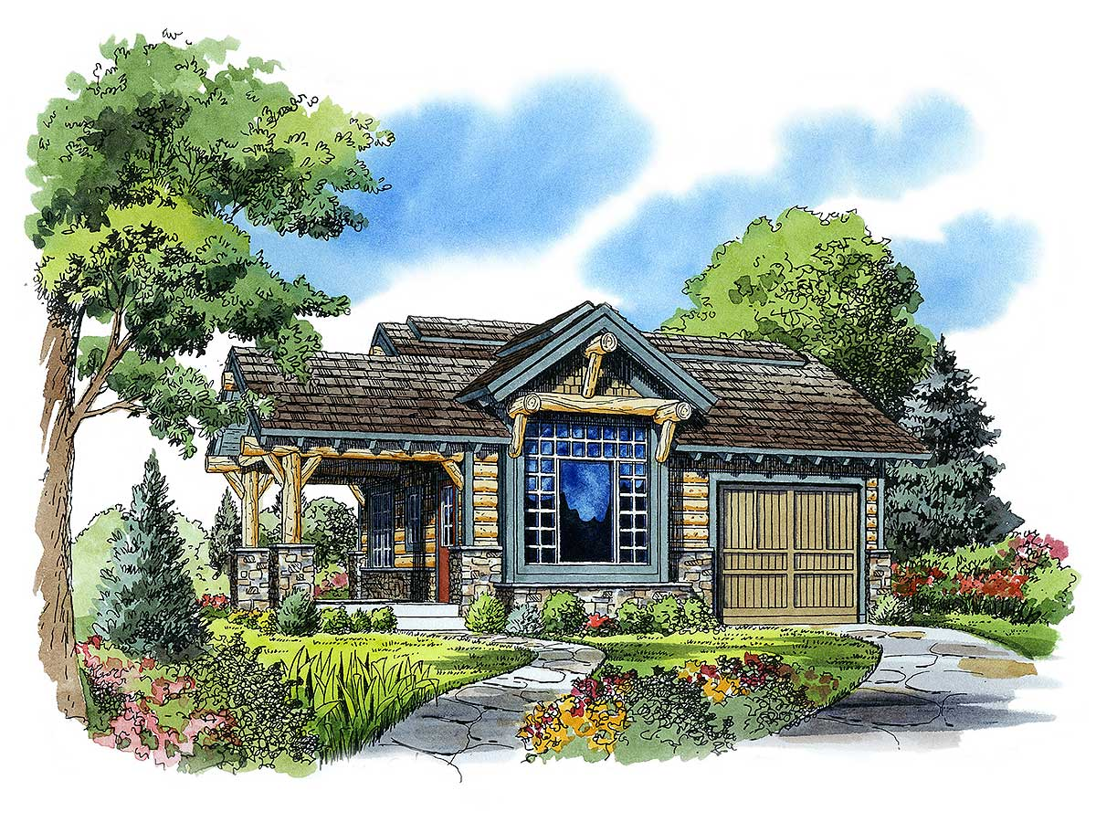 Weekend mountain escape 11534kn 1st floor master suite for Mountain vacation home plans