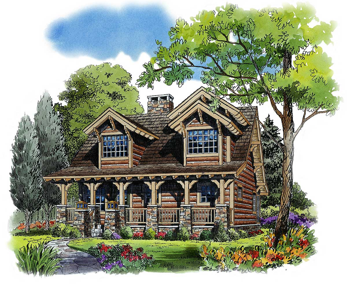 Rustic 4 bedroom cottage 11536kn architectural designs for Four bedroom cottage house plans