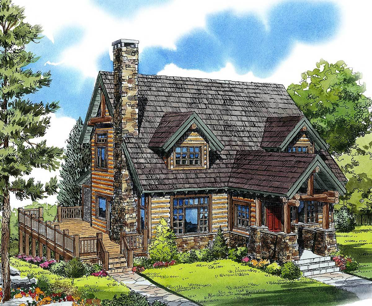 Mountain cabin 11545kn architectural designs house plans for Mountain cottage house plans