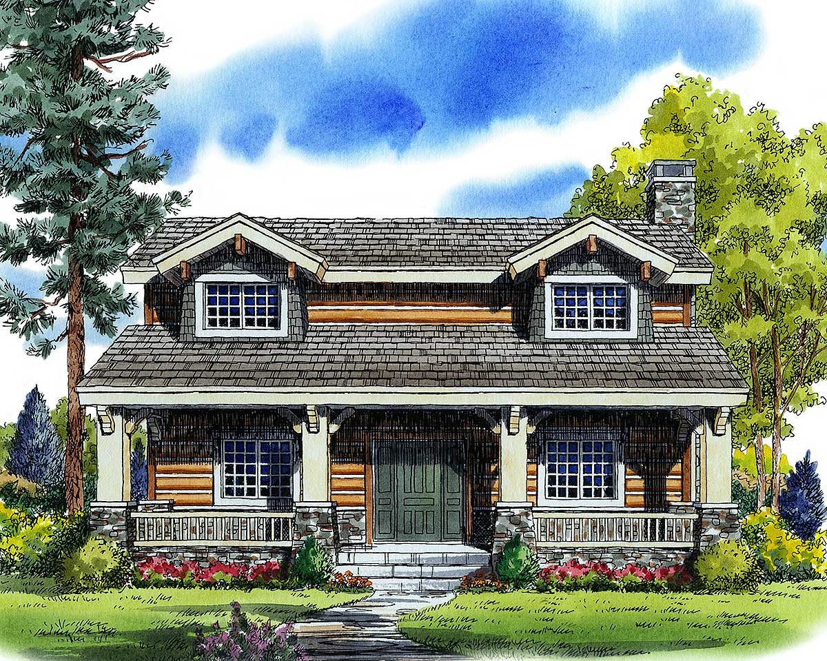Craftsman bungalow with rustic log siding 11547kn for Craftsman log home plans