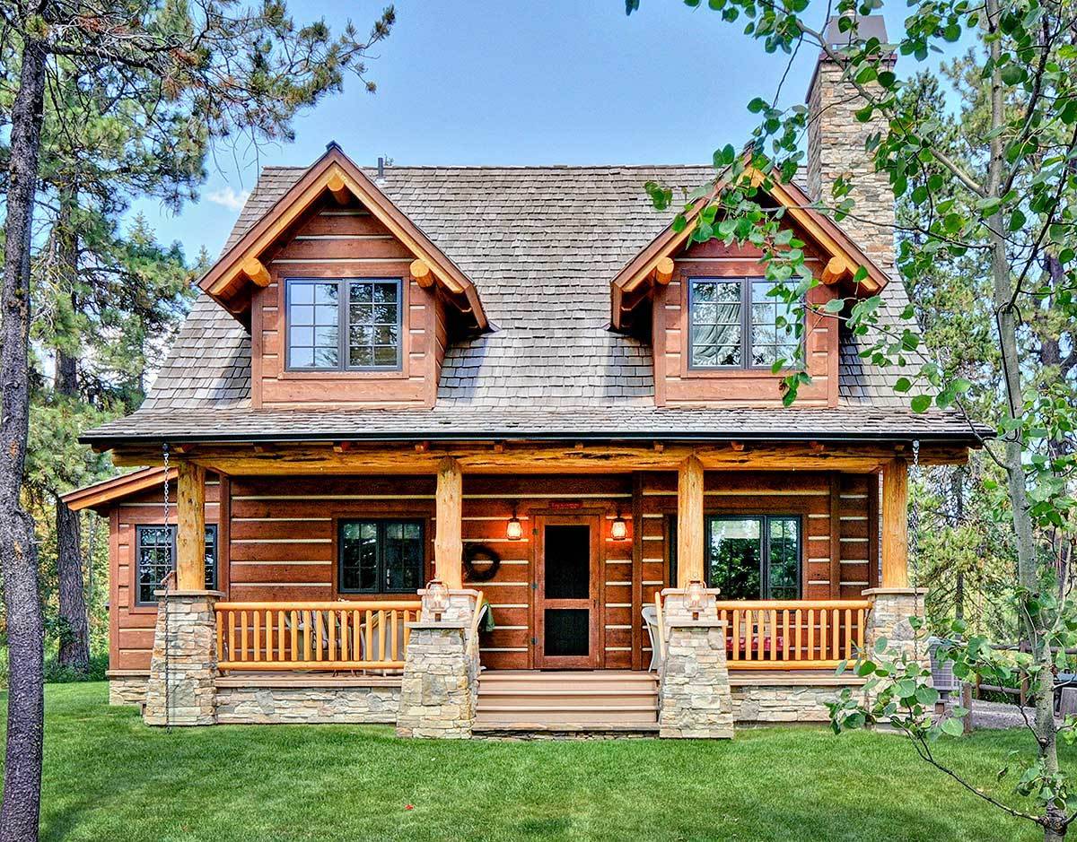 Log home plans architectural designs for 2 story kit homes