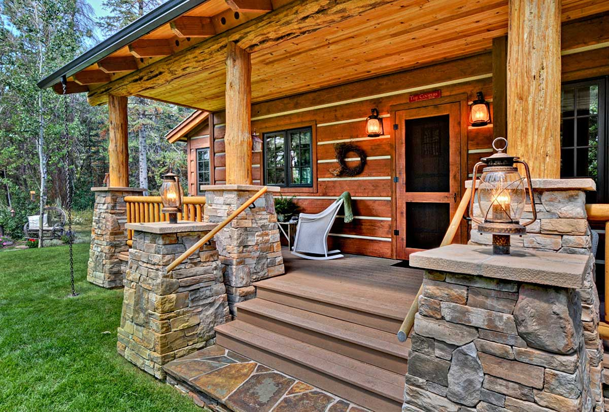 Architectural designs for Log cabin porch