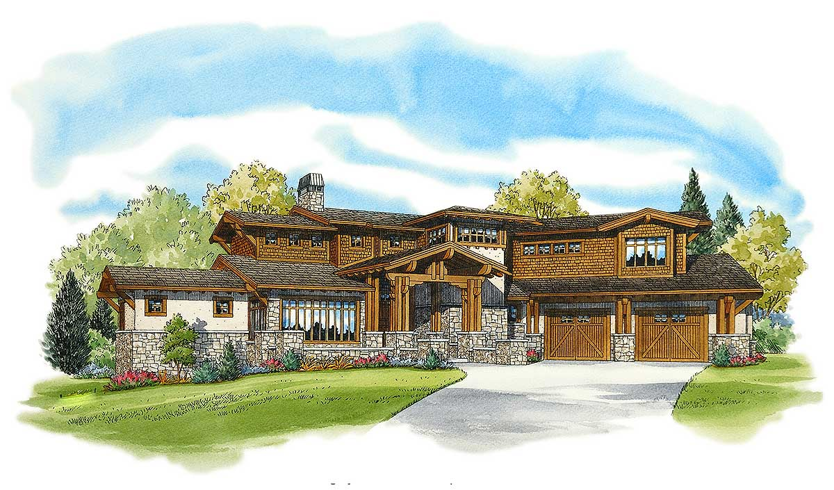 Three level rustic mountain house plan 11559kn 2nd for Mountain house library