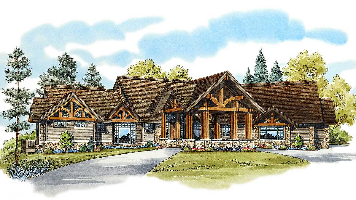 Luxury mountain home with finished lower level 11573kn for Luxury mountain home plans