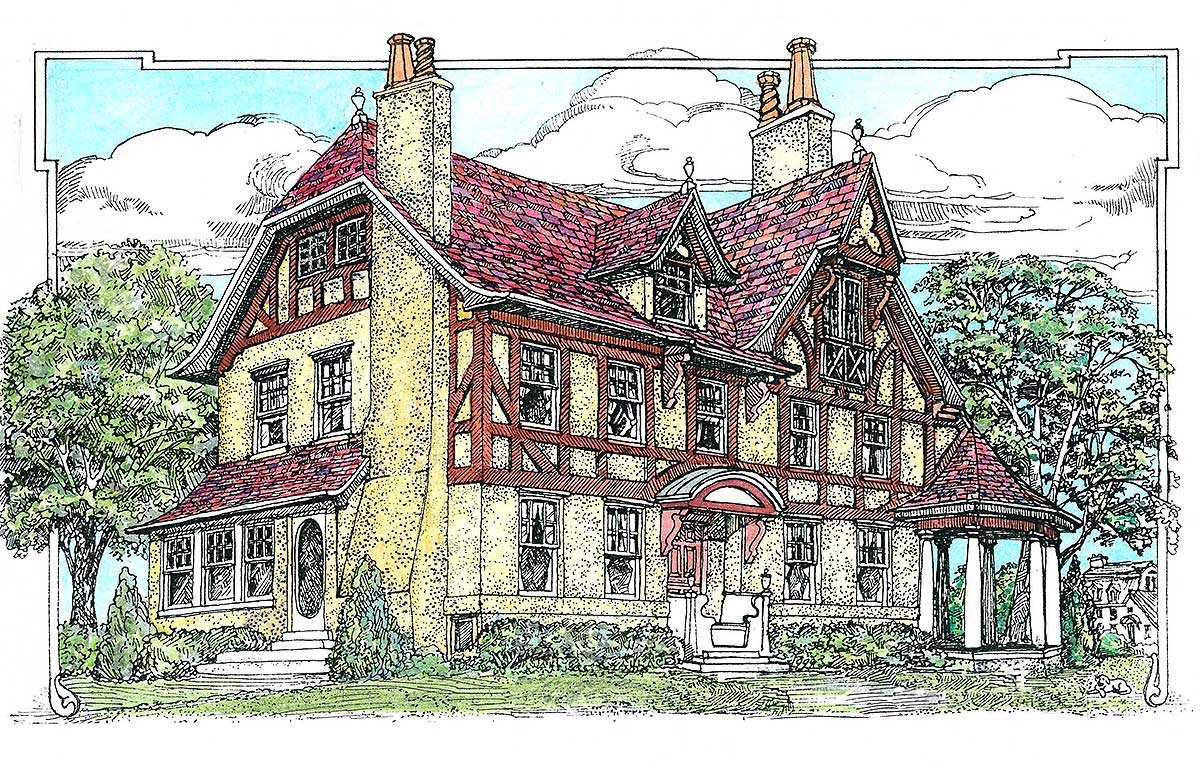tudor with parlor 11604gc architectural designs house plans - Architectural Designs Com