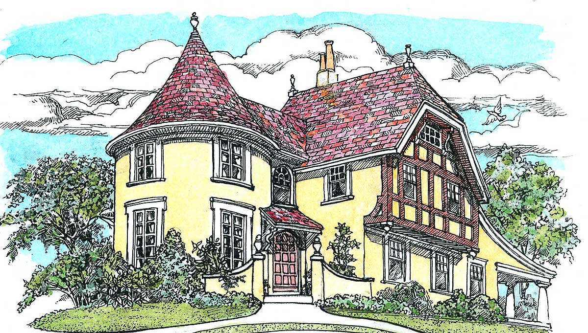 turreted tudor cottage 11605gc architectural designs house plans - Architectural Designs Com