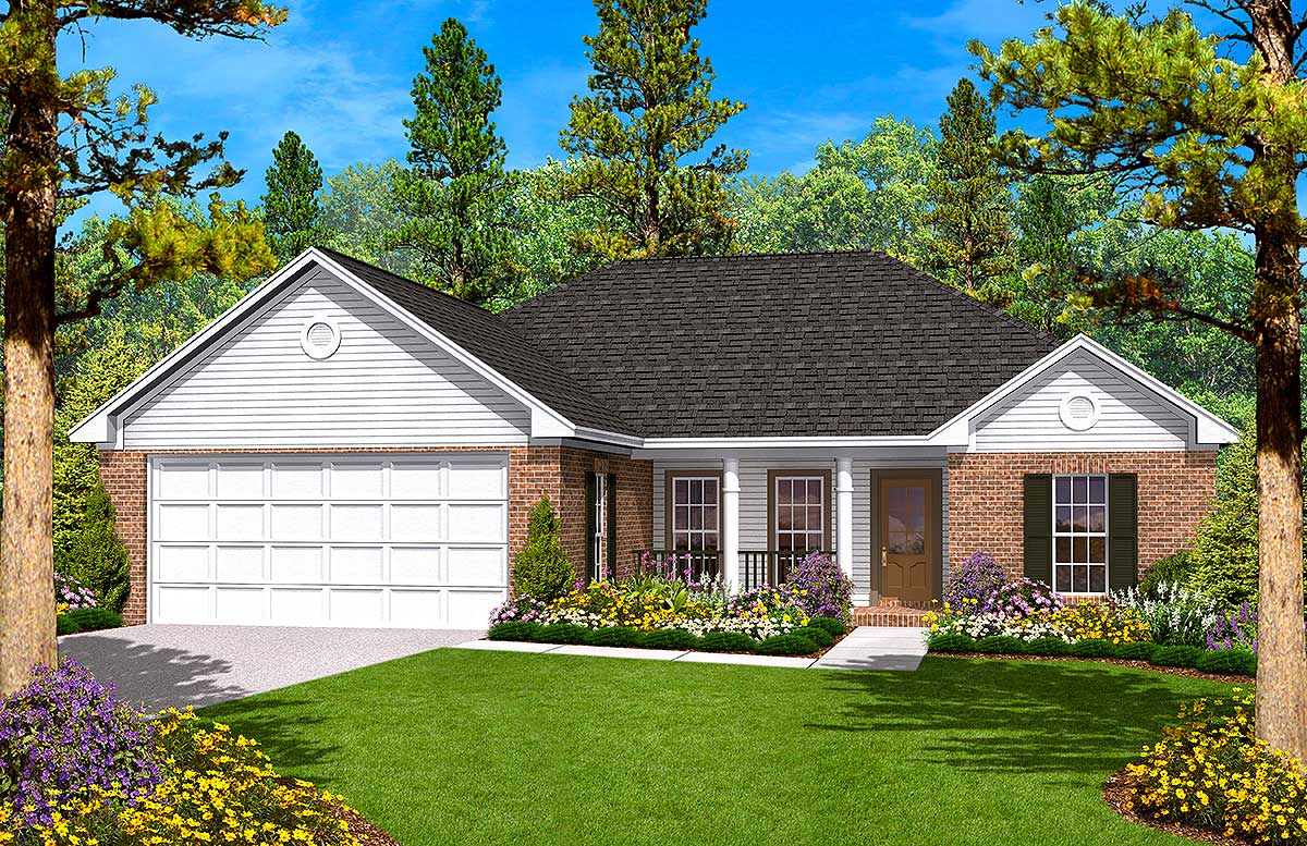 Split bedroom ranch home plan 11700hz 1st floor master for 2 bedroom 3 bath house plans