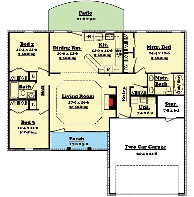 Split Bedroom Ranch Home Plan 11701HZ 1st Floor Master Suite