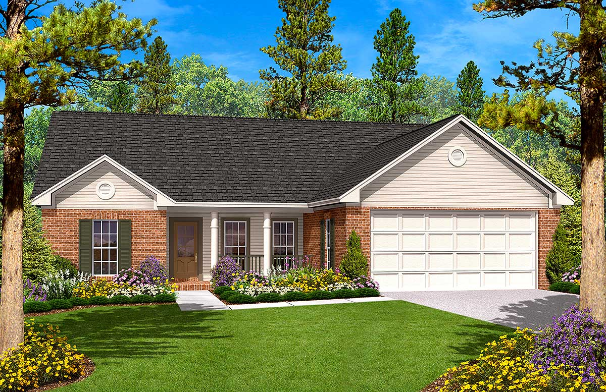 Split bedroom ranch home plan 11701hz architectural for Split bedroom