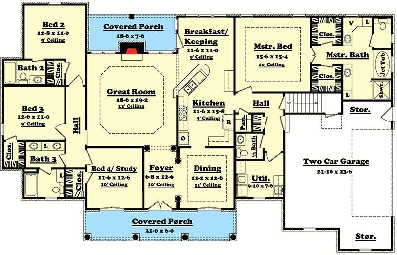 Elegant 4 Bedroom House Plan with Options 11712HZ 1st Floor