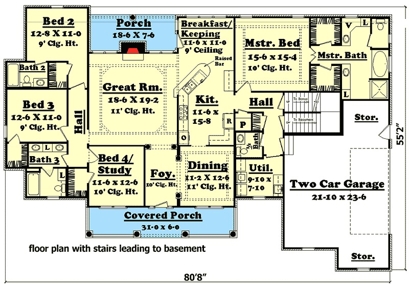 Elegant 4 Bedroom House Plan with Options 11712HZ 1st Floor