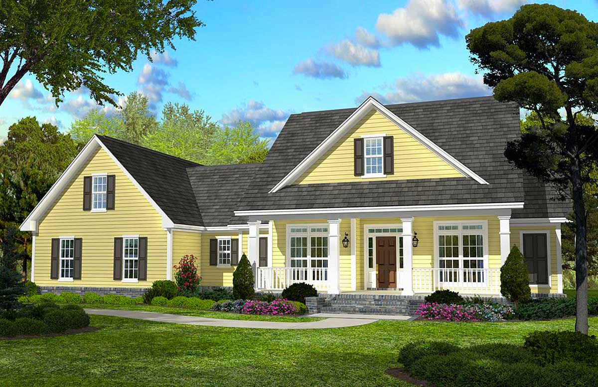 Country Home Designs: Classic Country Style Home Plan - 11745HZ
