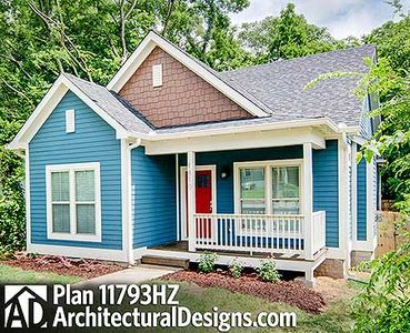 3 bed cottage with porches front and back 11793hz for House plans with porches on front and back
