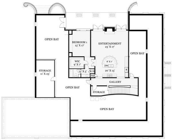 Dual-level Wraparound Balconies - 12185JL floor plan - Basement