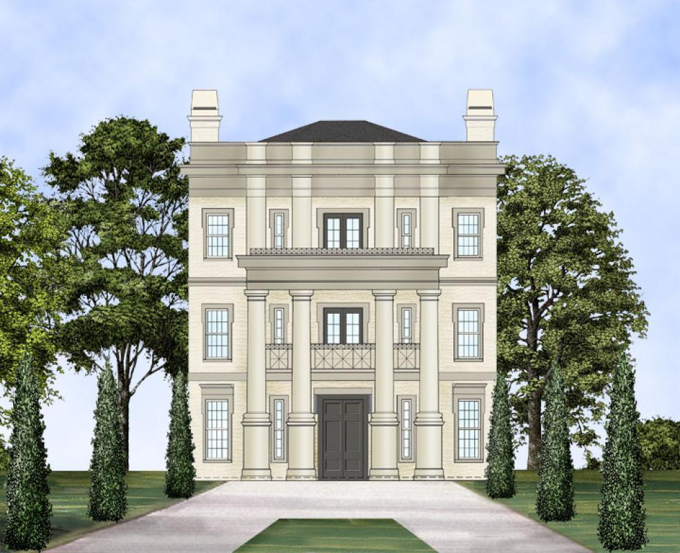 Three story neo classical home plan 12240jl for 3 storey house design