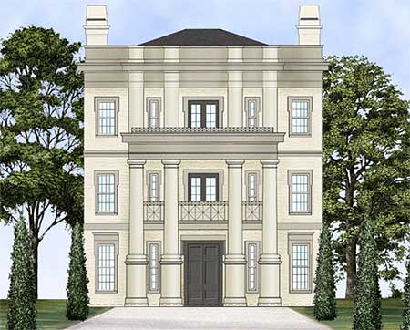 Three story neo classical home plan 12240jl european for Three story house plans narrow lot