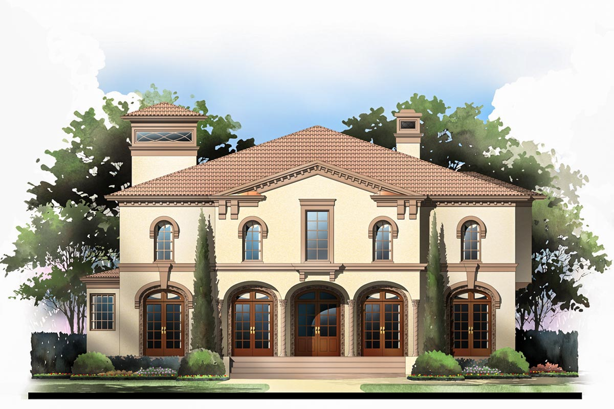 Tuscan villa with 2 master suites 12282jl 1st floor for House plans with 3 master suites
