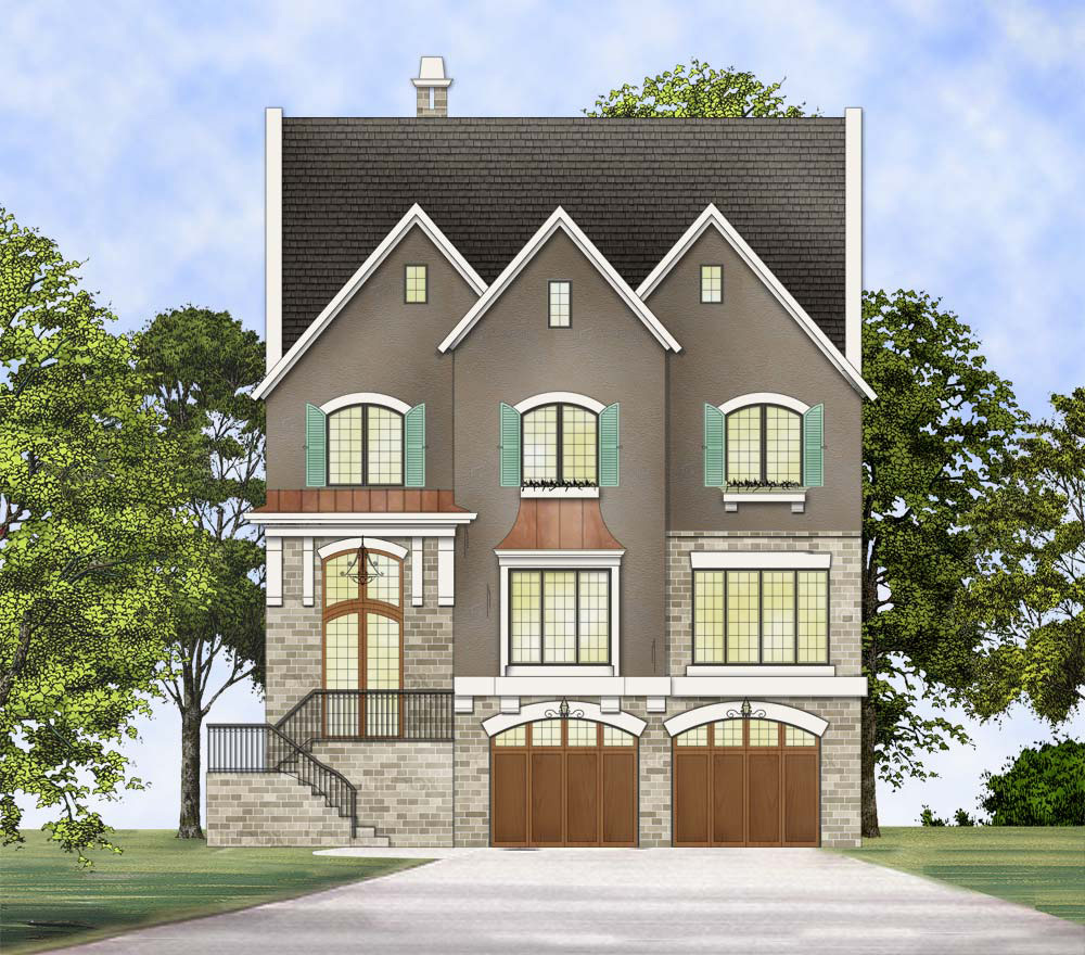 Upscale three story traditional house plan 12295jl for Traditional home floor plans