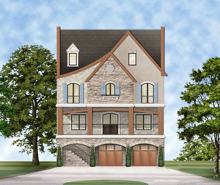 Unique and exciting four story traditional house plan for Unique european house plans