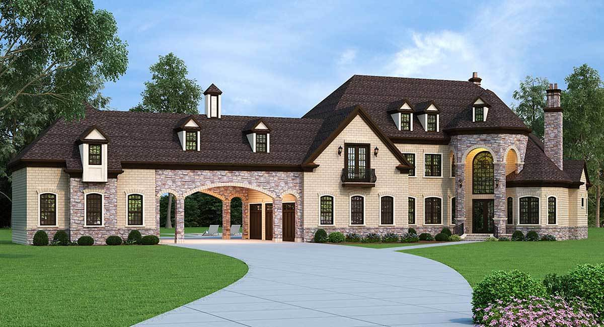 European estate home with porte cochere 12307jl for Porte cochere home plans