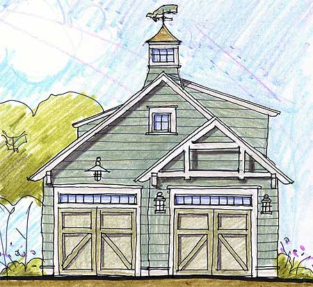 Two Car Garage With Cupola Loft 12431ne Cad