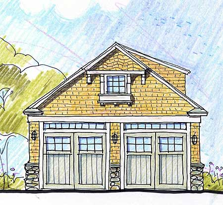 Economical two car garage with storage 12435ne for Architectural plan storage