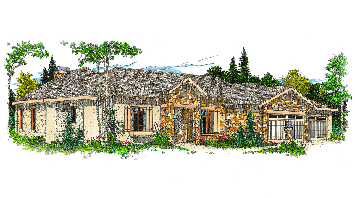 Hill country ranch house plan 12500rs architectural for Hill country ranch home plans